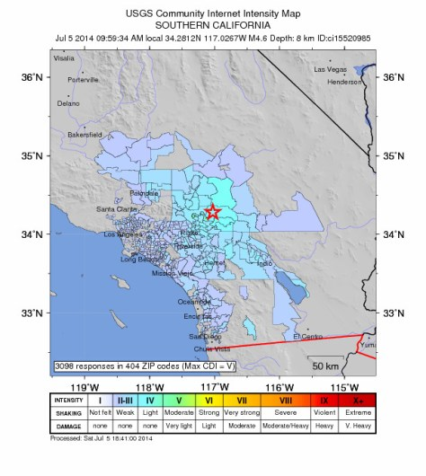 Map showing area where people felt the quake and at what intensity.