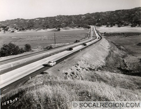 Looking southerly from just south of McBean Parkway in 1949. Courtesy - Caltrans.