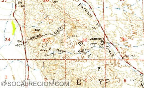 1952 USGS map showing Gower Gulch and Golden Canyon. Note the stream passing through Gower Gulch from Furnace Creek Wash.