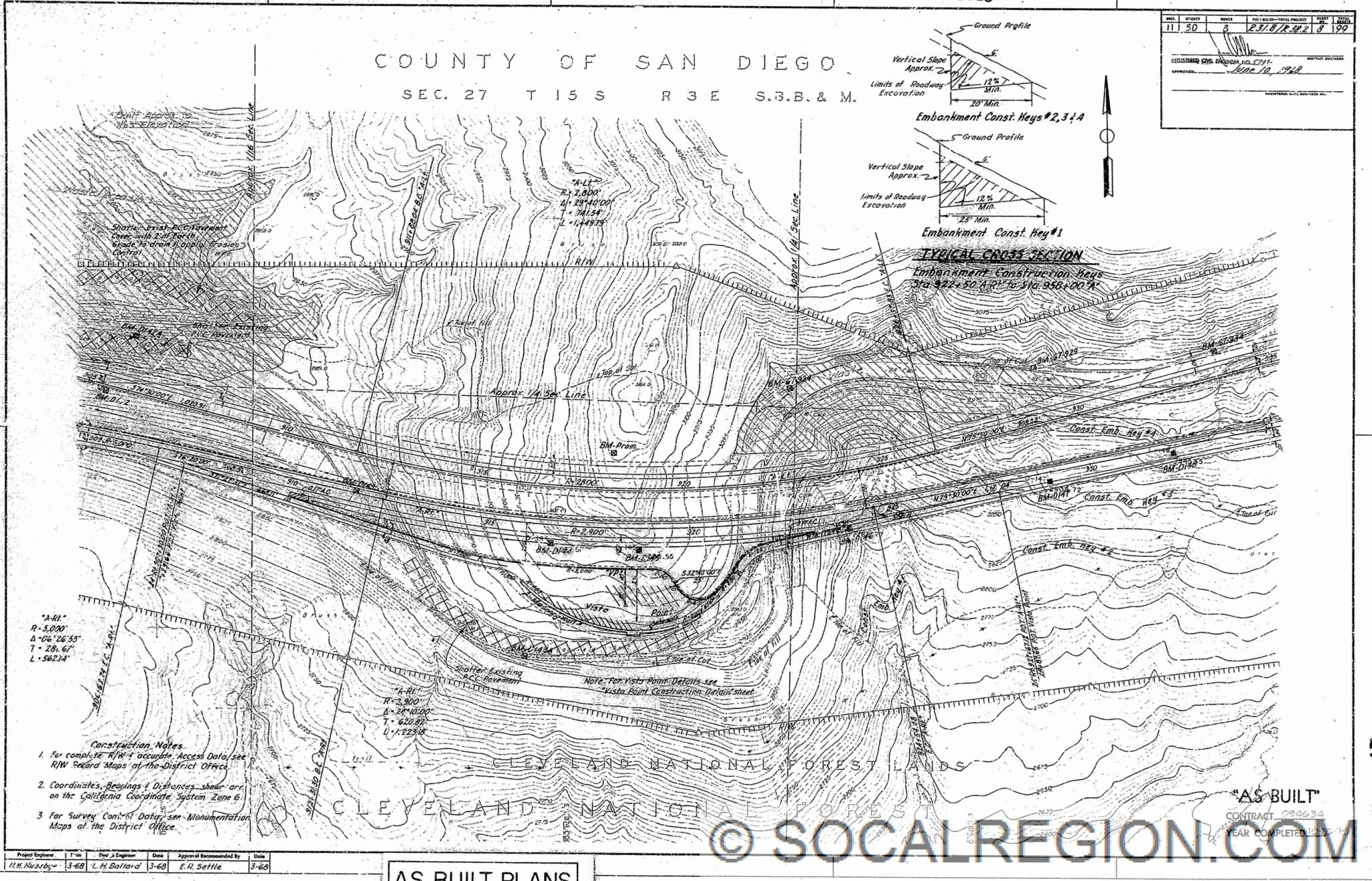 Detailed Plans For The Tunnel Area Showing The Old Alignment In Relation To The Present Freeway