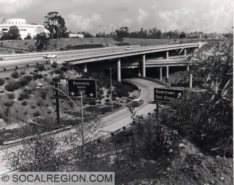I-5 and State 163 (then US 101 and US 395) Interchange in the late 1960's.