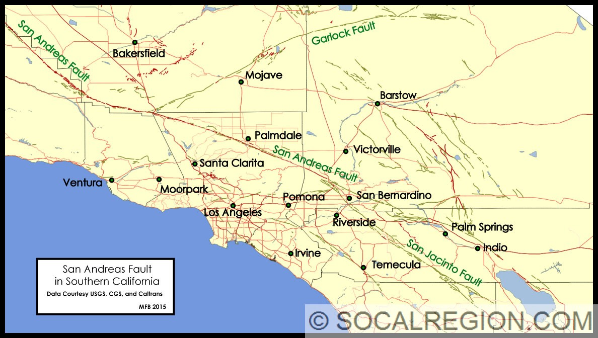San Andreas Fault In Southern California Southern California - Southern ca map