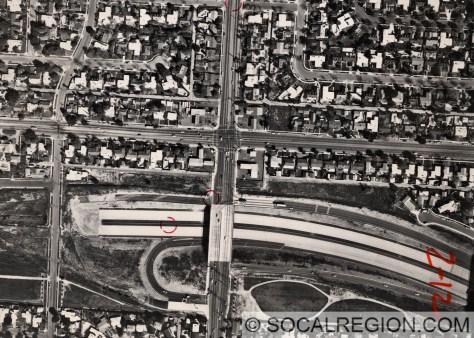 Temporary freeway terminus at Balboa Blvd in 1979.