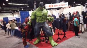 Deadpool meeting his hero, the Incredible Hulk.