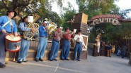 A live band plays in celebration of the Calico River Rapids grand opening