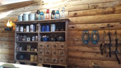 New decor with period-specific shelves, lanterns, traps, and other supplies and equipment to get ready for exploring the western wilderness