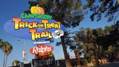 Entrance to the Camp Snoopy Trick or Treat Trail by Montezuma's Revenge roller coaster