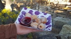 """""""Hint of Lemon"""" Churro Bites with a White Chocolate Sugar and a Boysenberry and Chocolate Dipping Sauce"""