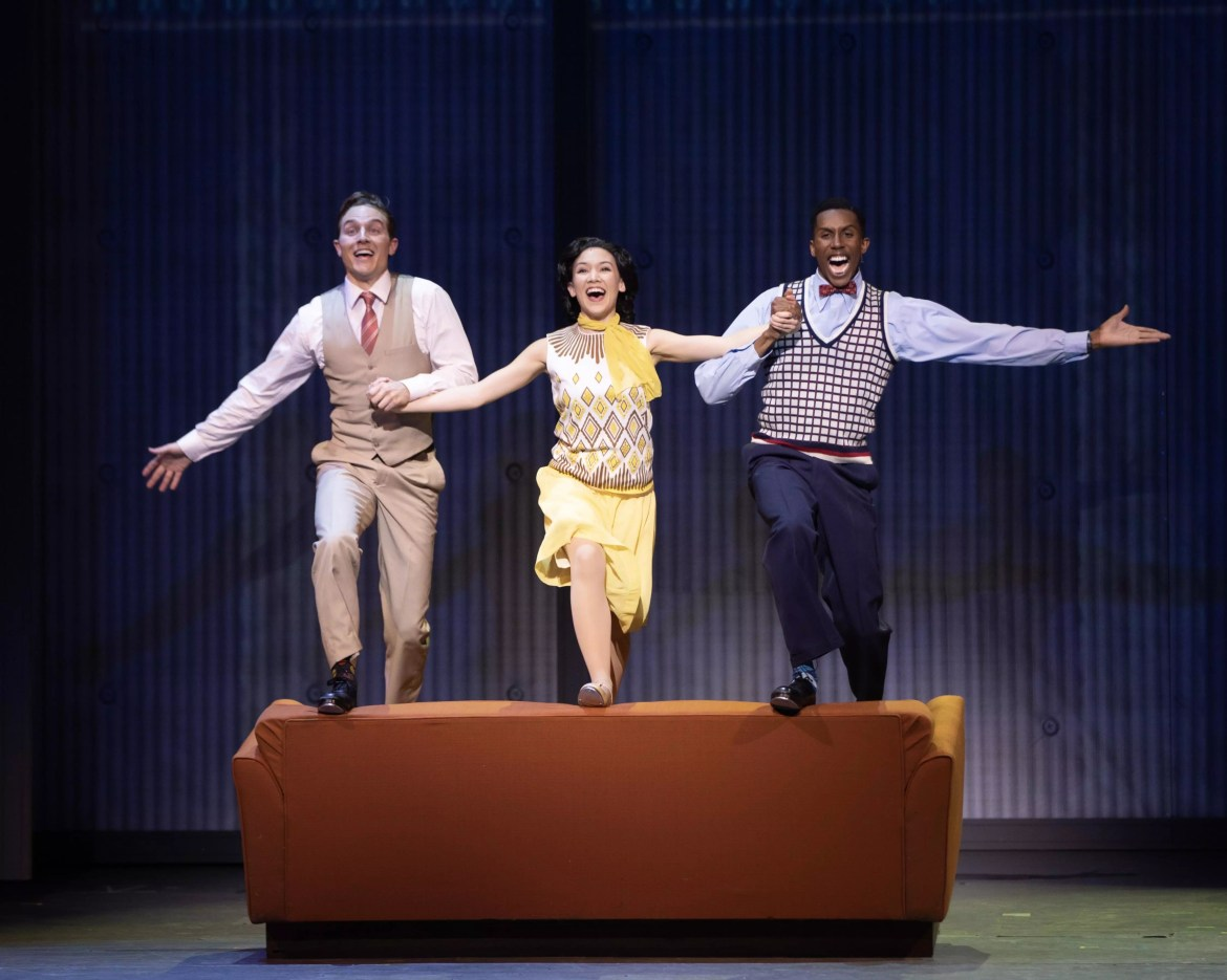 Michael Starr as Don Lockwood, Kimberly Immanuel as Kathy Selden, and Brandon Burks as Cosmo Brown.