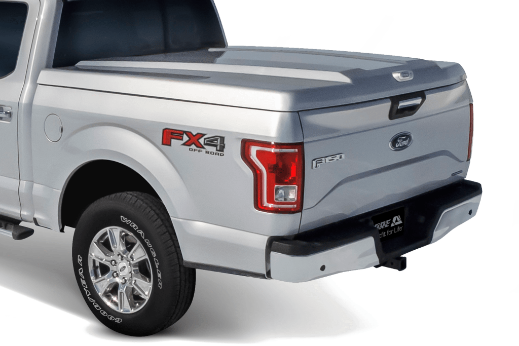 ARE fiberglass tonneau cover shown installed on Ford F150.