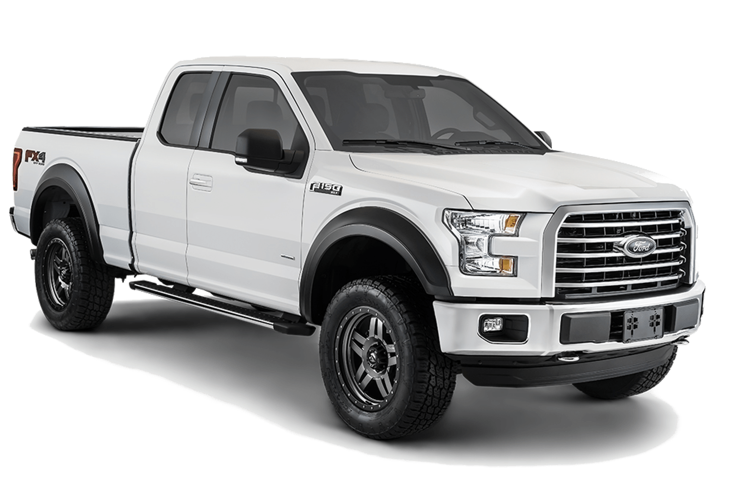 Bushwacker extend-a-fender fender flares shown installed on a Ford F150.