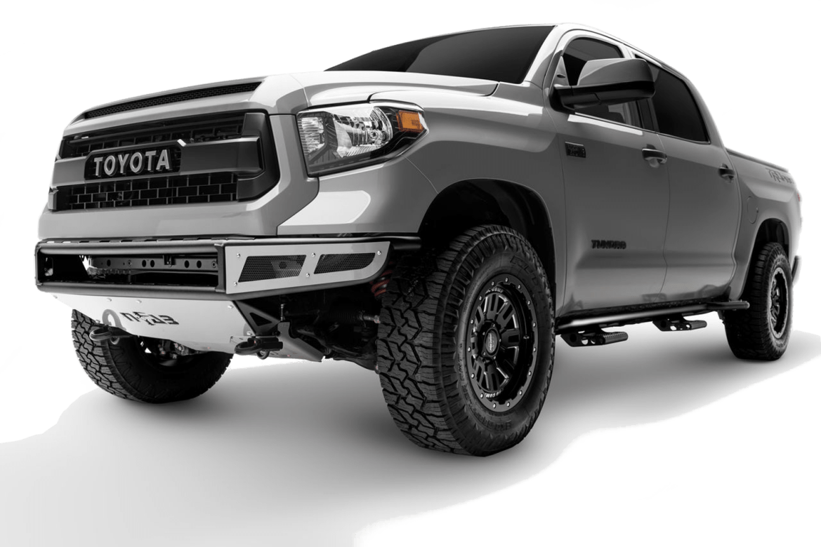 Product shot of the N-Fab RDS front bumper installed on a Toyota Tundra.