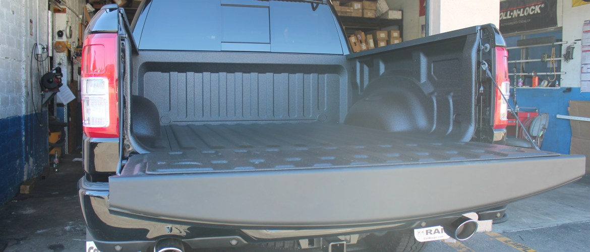 This 2019 Dodge Ram, the customer got their truck bed protected with a Bullet Liner spray on bed liner.