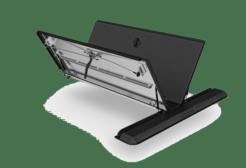 Diamondback covers 180 black powder coat shown angled.