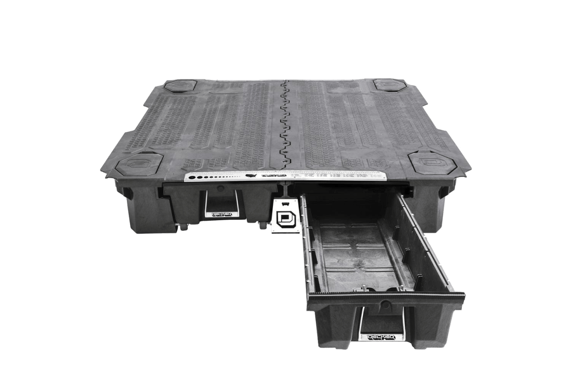 decked full/mid size truck storage system with passenger side drawer pulled out