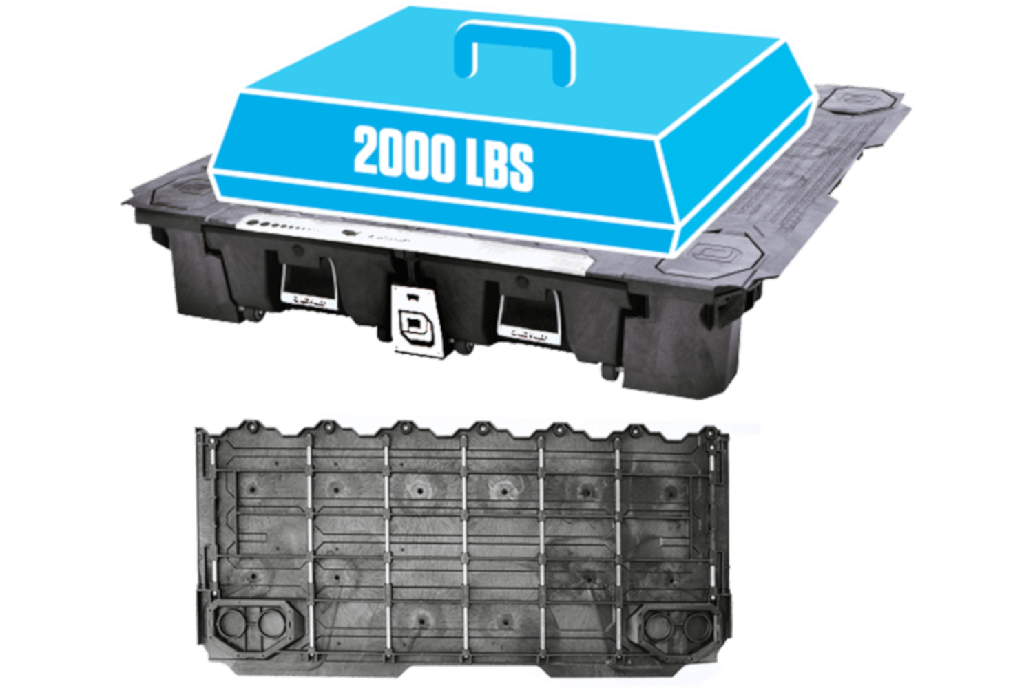 decked full size truck bed system supports 2000 lbs evenly.