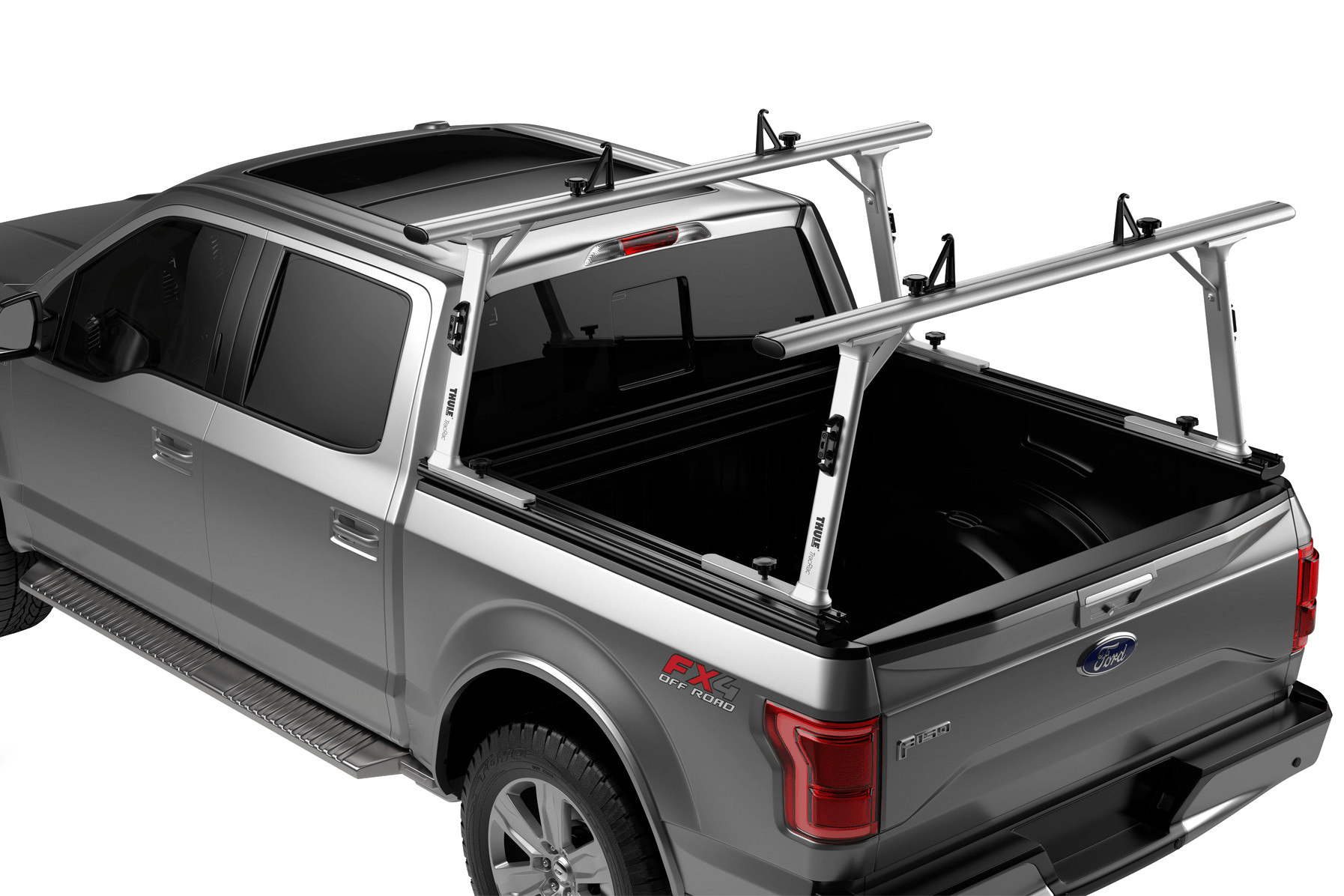 Thule TracRac adjustable truck rack side view installed on a view.