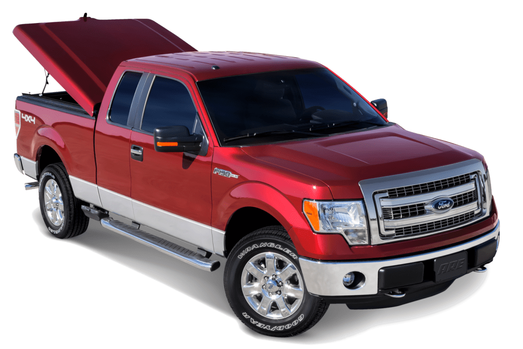 ARE LSX Ultra fiberglass tonneau cover shown on a Ford F150.