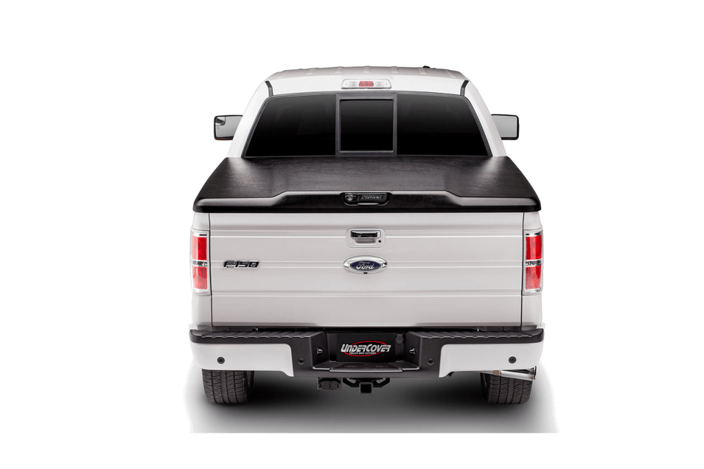 Rear shot of the Undercover Elite ABS plastic Tonneau cover shown installed on a Ford F150.
