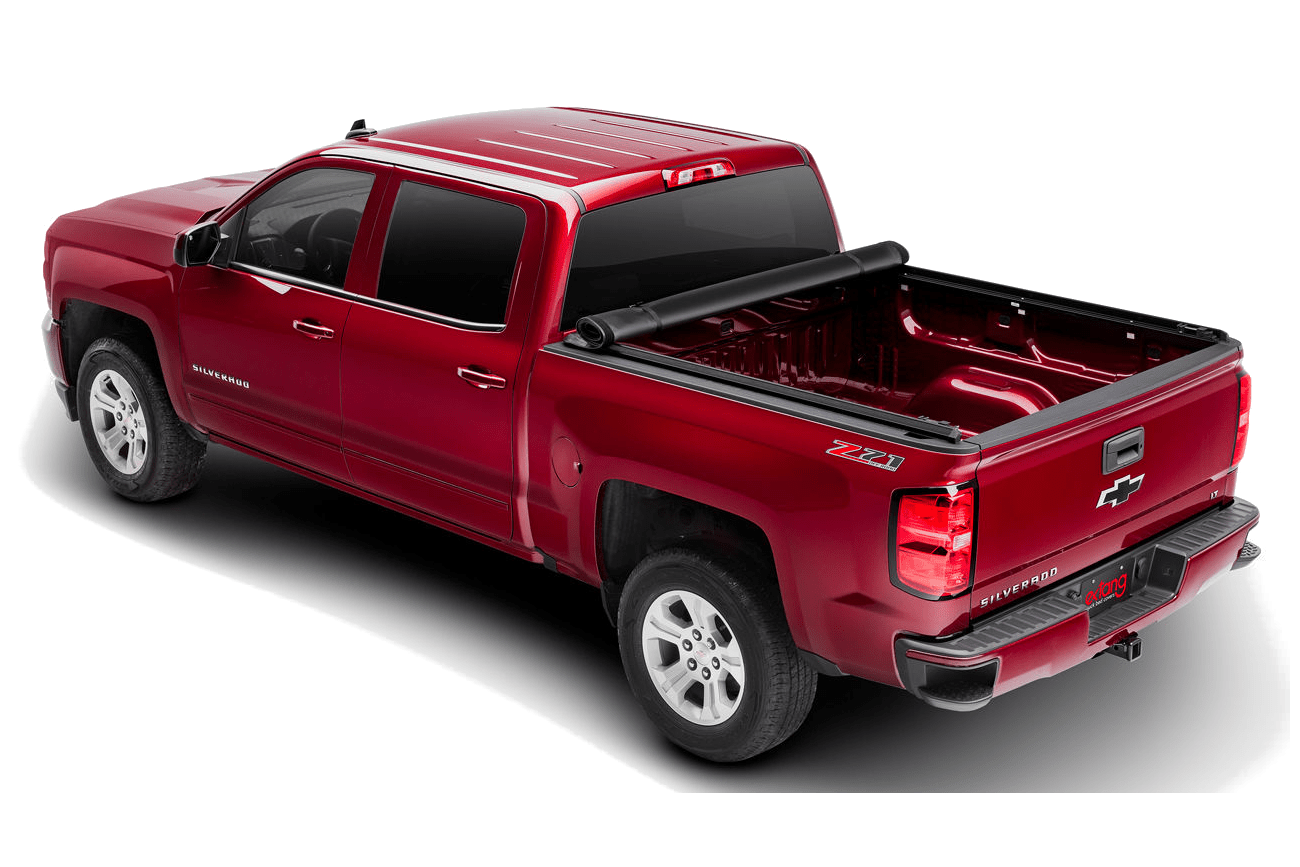 The Extang Express rolling tonneau cover shown fully open on a Chevrolet Silverado.