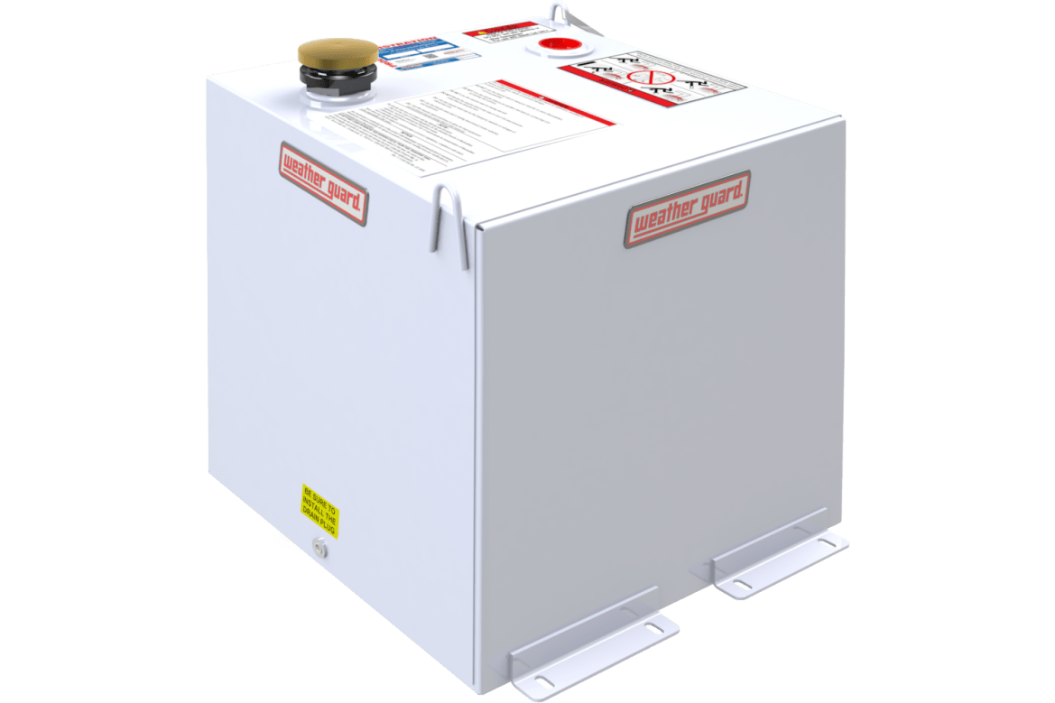 Weather Guard cubed transfer tank shown in white steel.