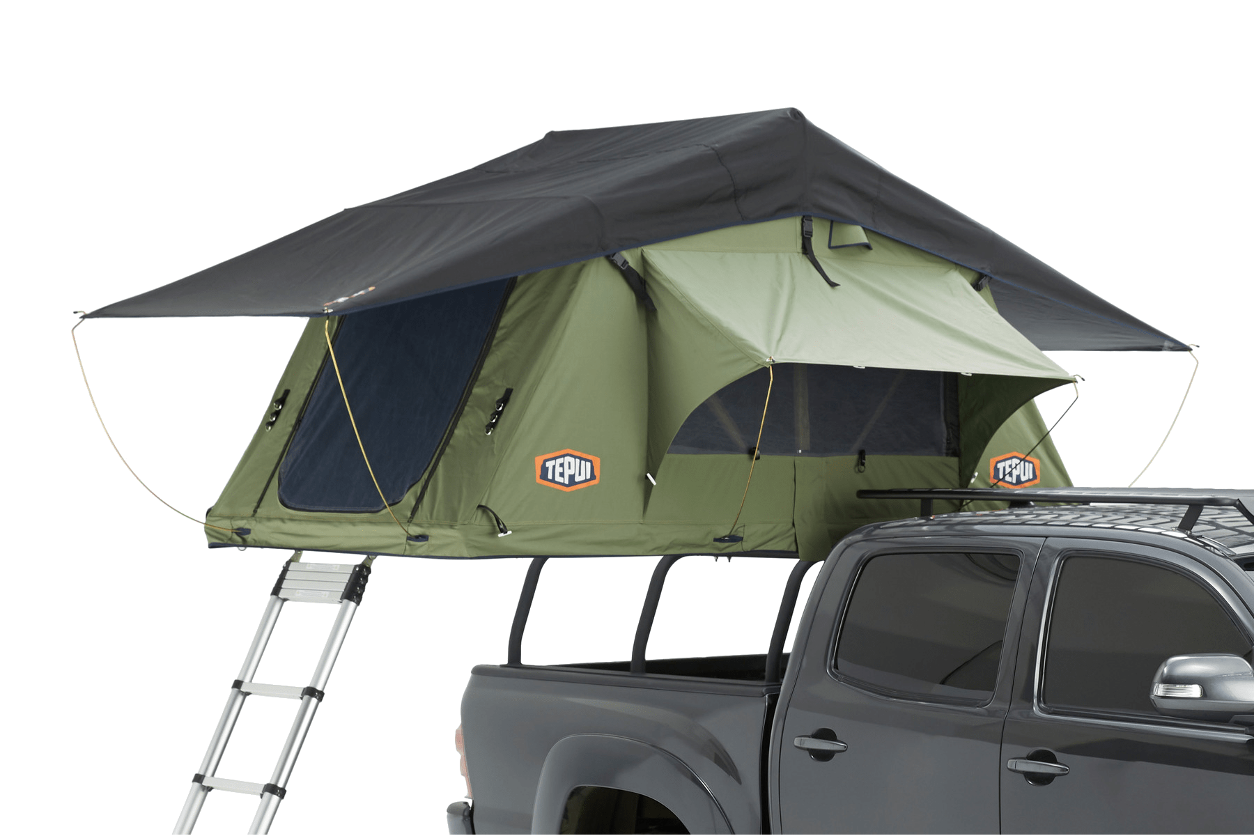 Tepui rooftop tent shown installed on a vehicle in olive green.