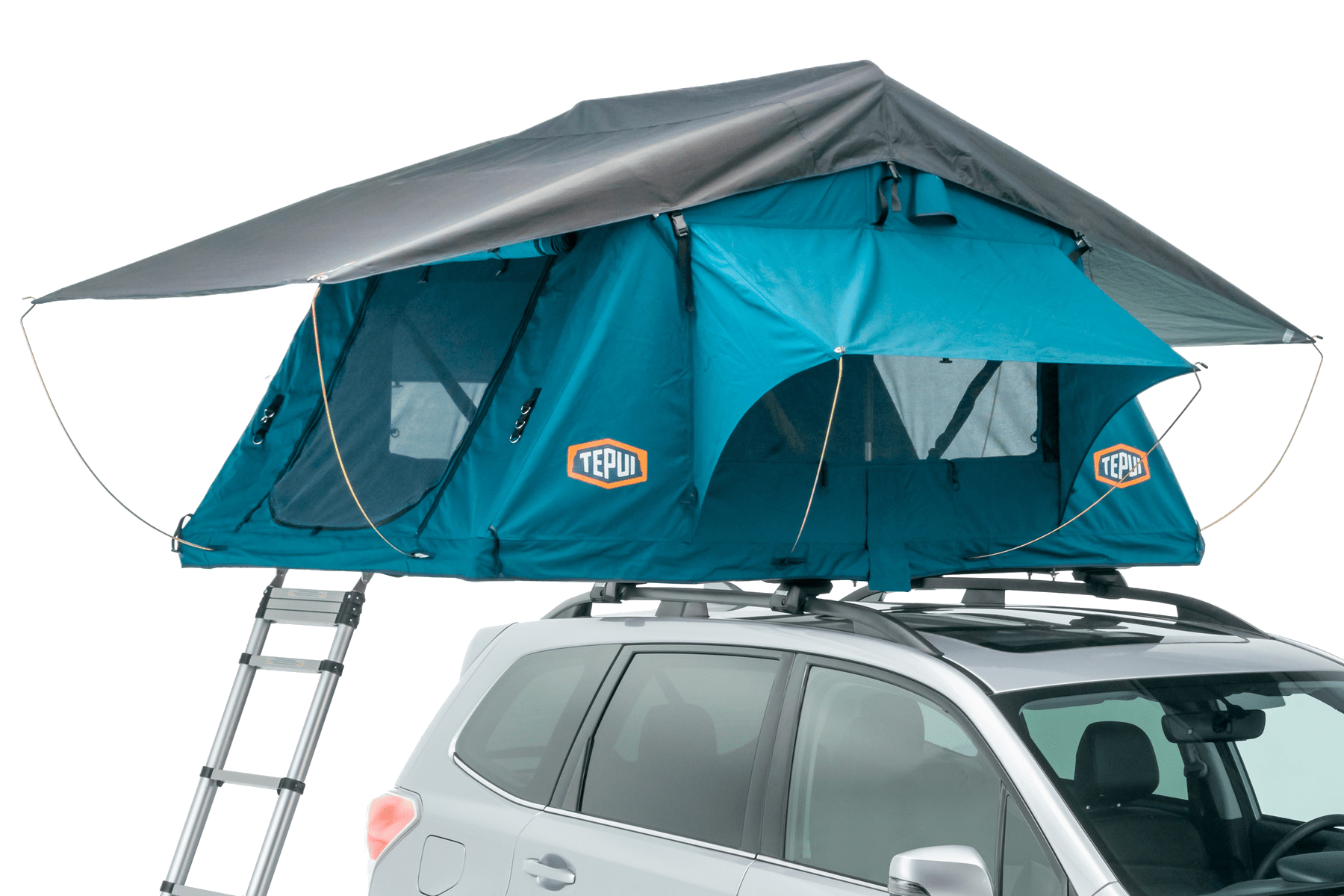 Tepui rooftop tent shown installed on a vehicle in grey.
