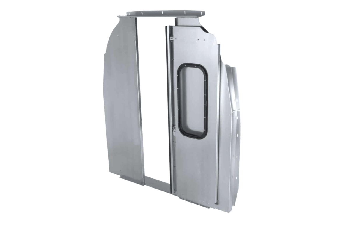 Ranger Design walk through sliding door partition.