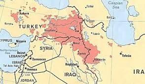 Kort over kurdiske områder. Kilde: http://www.sof.news/iraq/kurdistan-independence/
