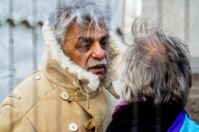 Tariq Ali Close Up. Photos taken at the #StopTrident rally at Trafalgar Square on Saturday 27th February 2016. Photo: Garry Knight Public Domain.