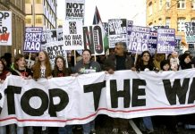 London anti-Iraq war demonstrators, 2003 - Source: https://dearkitty1.wordpress.com/2018/02/16/anti-iraq-war-demonstrations-2003-2018/