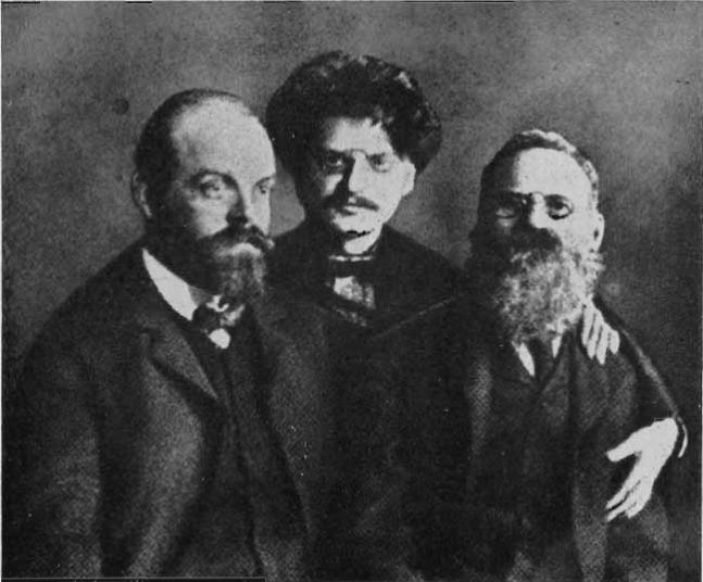 A. Parvus (left) with Leon Trotsky (center) and Leo Deutsch (right) in Saint Peter and Paul Fortress (prison) at Saint Petersburg. 1906. Source: http://en.wikipedia.org/wiki/Image:ParvusTrotskiDeich.jpg, update from http://rnns.ru/uploads/posts/2010-01/thumbs/1263192806_1906.jpg Author Unknown. Public Domain.