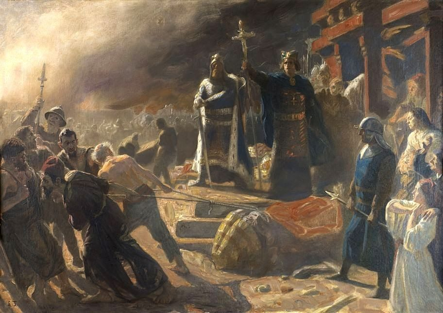 Tvangskristening af hedninge: The Taking of Arkona in 1169, King Valdemar and Bishop Absalon indtager Arkona i 1169 og vælter stuen af Guden Svantevit. Malet af den danske maler og skulptør Laurits Tuxen (1853–1927) sidst i 1900 tallet (før 1890). Olie på lærred.Note: Original studie til vægmaleriet på Frederiksborg slot. Fotograf: hopegallery.com. Public Domain https://commons.wikimedia.org/wiki/File:Bishop_Absalon_topples_the_god_Svantevit_at_Arkona.PNG