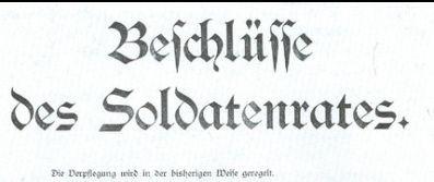Illustration: Overskrift + 1. linje af bekendtgørelse af 7. november 1918 fra Soldaterrådet i Sønderborg