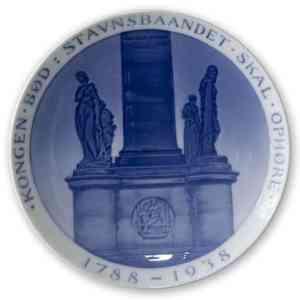 1938 Royal Copenhagen Mindeplatte, Frihedsstøtten, KONGEN BØD STAVNSBAANDET SKAL OPHØRE 1788 -1938. Design: Richard Bøcher. Kilde: http://www.dphtrading.dk/produkter/platter/rnr283
