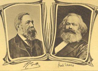 Marx og Engelsk udgiver Det Kommunistiske Partis Manifest ('Det kommunistiske manifest'), se 21 februar 1848 (Kilde: Postkort med fotografier af Engels og Marx Udsendt af Buchhandlung Vorwärts, Berlin 1880'erne. Se mere på: https://www.arbejdermuseet.dk/viden-samlinger/temaer/marx-manifest/