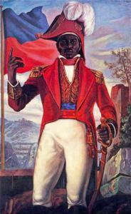 Représentation épique de Jean-Jacques Dessalines lors de la Révolution haïtienne de 1804. 19th century. Source: Peinture murale à Port-au-Prince. Author:Unknown. Domaine public.