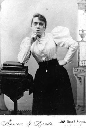 """Emma Goldman, circa the early 1900s."" Jewish Women's Archive. https://jwa.org/media/emma-goldman-0."