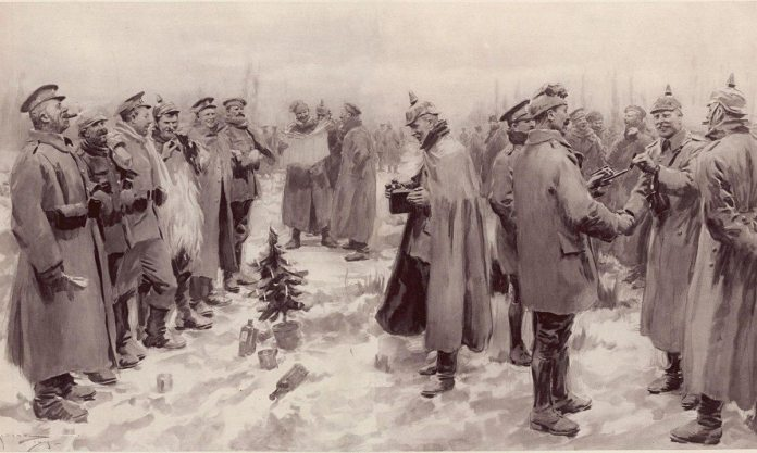 During the Christmas days of the first World War's first winter, there were widespread incidents mostly on the Western Front of truce, fraternization and even attempts to organize football matches.