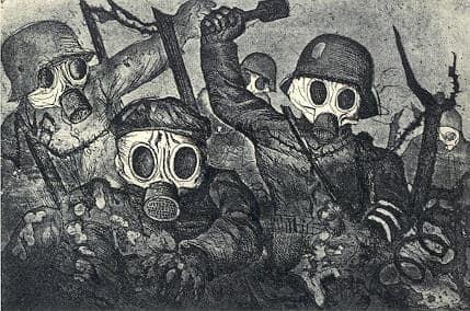 "Otto Dix 'Sturmtruppe geht unter Gas vor' [Stromtroppper går frem under gas (også kendt under dansk titel ""Gasangreb""),1924."