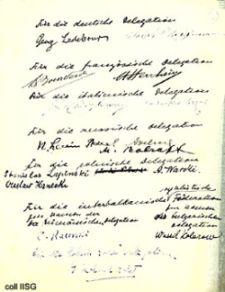 Signaturerne på konferencens kompromis-manifest