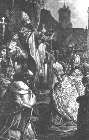 Pope Urban II preaching the First Crusade at the Council of Clermont. Public Domain.