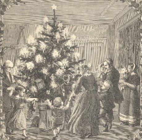 """Juletræsbilledet er fra et større julebillede bragt i """"Illustreret Tidende"""" 25. december 1859. NB tjenstepigen er inde i stuen!"""