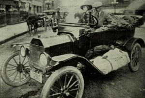 Sinclair Lewis Driving a Car. Date: 12 October 2013. Source: The World's Work, 1921: https://archive.org/stream/worldswork42gard#page/186/mode/2up Author: Unknown. Public Domain