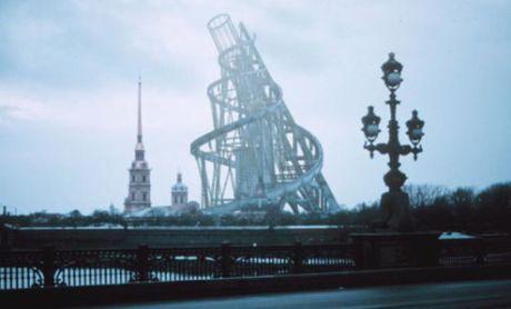 Tatlins monument fra 1920 i 3D-projektion