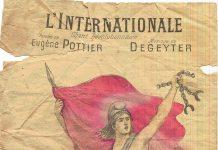 Forside på hæfte med tekst og noder til Internationale, på fransk med Eugène Pottier lyrik og Pierre Degeyters musik. Kilde: Public domain image (expired copyright), http://jean-rumain.over-blog.com/article-4-octobre-1816-naissance-d-eugene-pottier-110840822.html