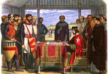 "A romanticised 19th-century recreation of King John signing Magna Carta. Engraved in 1864 by James William Edmund Doyle (1822–1892): ""John"" in A Chronicle of England: B.C. 55 – A.D. 1485, London: Longman, Green, Longman, Roberts & Green, pp. p. 226 Retrieved on 12 November 2010. Public Domain."