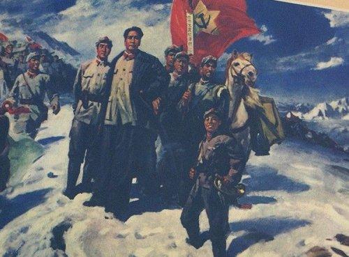 "Kinesisk propaganda for Mao som guerillaleder under <a href=""https://da.wikipedia.org/wiki/Den_lange_march"" target=""_blank"">""Den lange march""</a>, 1934-35."