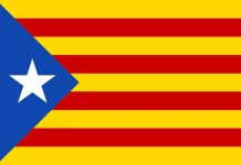 "Catalanske seperatiskflag ""Estalada"". By Huhsunqu - Own work, CC BY-SA 2.5, https://commons.wikimedia.org/w/index.php?curid=739696 Kilde: https://en.wikipedia.org/wiki/Estelada"