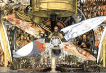 "Diego Rivera ""Mennesket ved skillevejene"" / ""Man at the Crossroads"" Se: ""https://en.wikipedia.org/wiki/Man_at_the_Crossroads + personlisten 'Diego Rivera (1886-1957)' https://socbib.dk/diego-rivera-1886-1957/"
